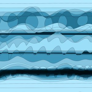 This is an image made of abstract shapes and lines. It is coloured in different shades of blue with three black lines of varying thicknesses running across it