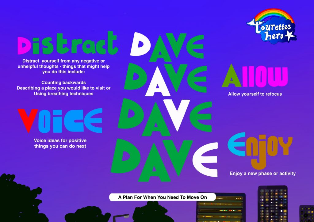 A digital drawing by Touretteshero of the DAVE plan. The acronym DAVE is spelled many times in the centre of the image in green and blue text. The background is an inky indigo night scene with the silhouettes of buildings in darkness adorning the bottom of the image. DAVE – a plan for when you need to move on Distract yourself from any unhelpful thoughts – this could involve having a conversation, undertaking a physical activity or counting backwards. Allow yourself to refocus Voice ideas for positive things you can do next Enjoy any new phase or activity