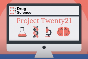 A digital animation of an iMac containing the logo for Drug Science's Project Twenty21.
