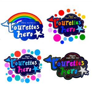 Four colourful wall stickers created digital by Jess Thom, the four different designs of wall sticker all say 'There's more than one Touretteshero' and use the Touretteshero logo as their starting point. In the top right corner the logo is blue with a rainbow arc. The Top right has large colourful rainbow spots. The bottom left design has spots too but these are in pink's and blues. The bottom right sticker has rainbow text and a regular pattern of dots across the image