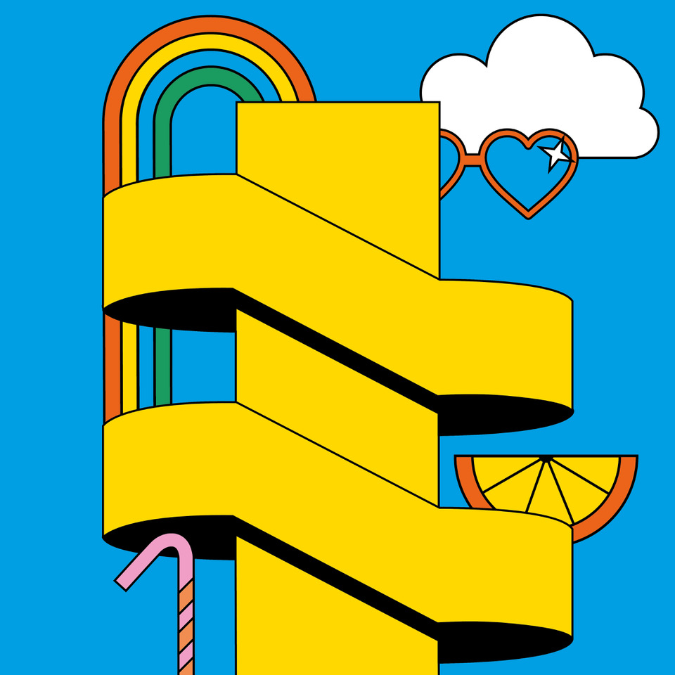 This is a brightly coloured digital illustration or the outside staircase at the Southbank centre in the colour yellow. There is a blue sky, a white cloud, a rainbow coming out from the top of the staircase, a pink straw, orange heart shaped sunglasses and an orange and yellow lemon wedge.