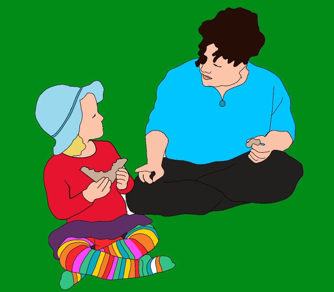 A digital drawing of a child wearing a hat eating a sandwich next to an adult, both are sitting crossed legged.