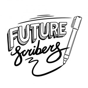 A black line digital drawing on a white background by illustrator and live scribe Amber Anderson of the Future Scribers logo. The logo reads Future Scribers. The word Future is hand drawn in a bold capitalised comic book style. The word scribers is hand drawn in a cursive script. To the right of the text there is a drawing of a pen having drawn a smooth squiggle underneath.