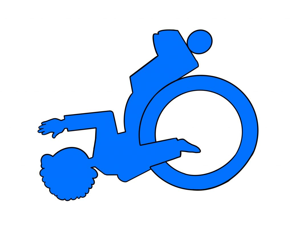 A digital drawing of a stylised wheelchair user, similar to the universal wheelchair symbol but bright blue and tipped back at an unexpected angle.