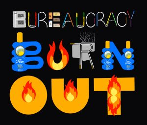 A digital drawing by Touretteshero of various different objects that spell out the message 'Bureaucracy Burn Out'. The drawing has a black background. The word bureaucracy is spelled out with various bits of stationary such as paper, pens, letters and pencils. 'Burn' is spelled out with bottles of suncream, flames and matchsticks. 'Out' is spelled out with flames.